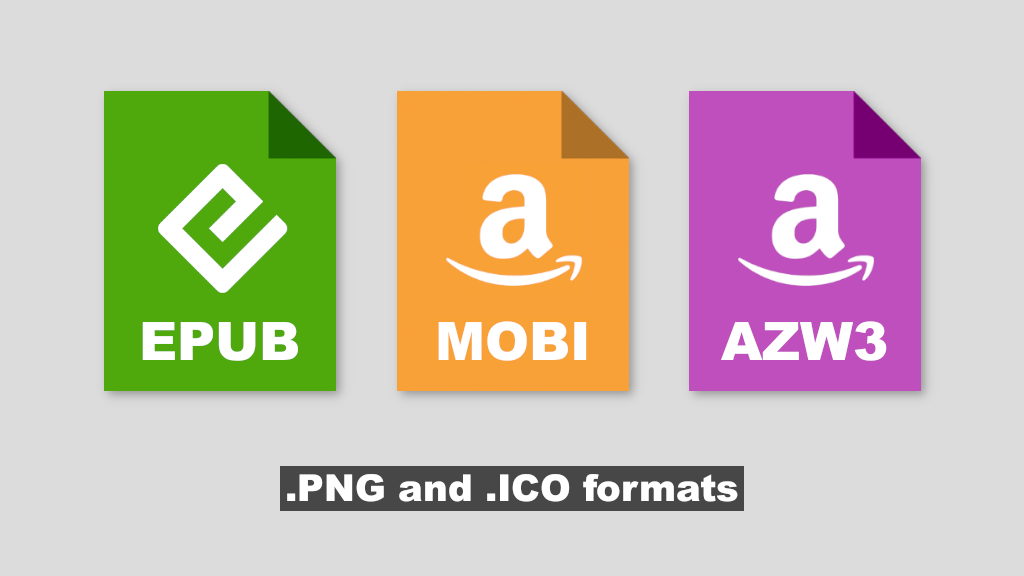EPUB, MOBI, AZW3 uniform icons.