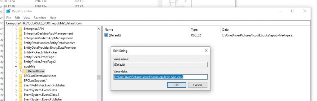 Register the ePUB file type in Windows.